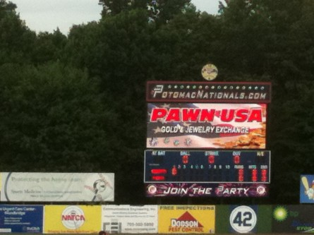 Pawn USA is a prominent sponsor of the Potomac Nationals. (Jason Dick/CQ Roll Call.)