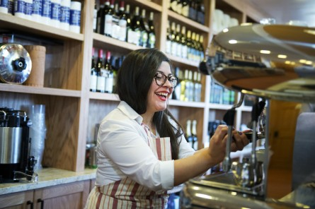 Karla Lopez makes espresso at Radici. (Tom Williams/CQ Roll Call)