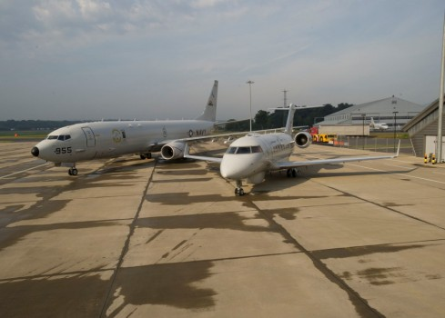 P-8 pictured alongside the MSA at the 2014 Farnborough International Airshow