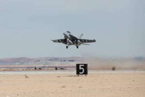 An F/A-18 Super Hornet prepares for landing during flight testing. Lockheed Martin photo