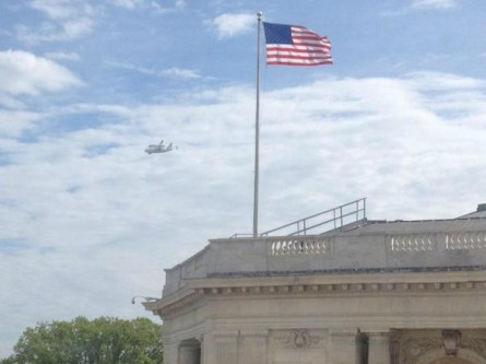 Space shuttle Discovery over D.C.
