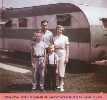 Rep. Steve Chabot (the littlest in the picture) is approximately 3 years old in this 1956 photo. He is standing with his older brother Ron and parents Gerard and Doris in Reading, Ohio (a part of greater Cincinnati, Ohio). They are all standing outside their trailer in the trailer park where the family lived. (CQ Roll Call file photo.)