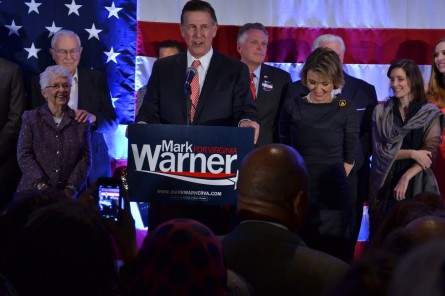 Rep.-elect Don Beyer (center) accompanied by Virginia Gov. Terry McAullifee (rear) and his wife, Megan Beyer (right), during his 2014 victory speech. (Warren Rojas/CQ Roll Call)