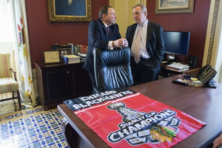 Assistant Minority Leader Sen. Dick Durbin, D-Ill., speaks with Gary Bettman, Commissioner of The National Hockey League, in his office on Capitol Hill, on Wednesday, March 2, 2016. The Stanley Cup visited the U.S. Capitol and visited Sen. Durbin's office after the Chicago Blackhawks won the 2015 Stanley Cup. (Photo By Al Drago/CQ Roll Call)