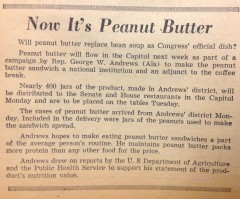 A clip from Roll Call in 1960 shows former Rep. George W. Andrews' efforts to make peanut butter an American staple.