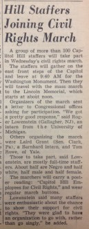 Published the morning of the Civil Rights March on Washington in 1963, Roll Call estimated that 100 Hill staffers would participate in the March.