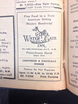 "An advertisement for the ""Water Gate Inn"" in 1964. Their claim to fame? Popovers."