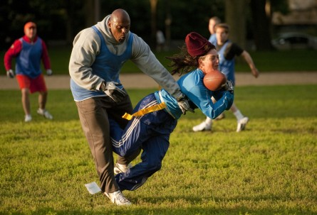 Former Redskin Ken Harvey takes out Donna Wilkinson of the women's football team DC Divas, during a congressional football practice on the Mall in preparation for the upcoming game between members of Congress and the Capitol Police. (Tom Williams/CQ Roll Call File Photo)