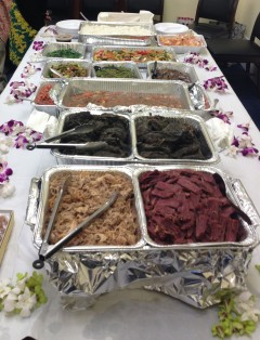 Last Friday's lū'au spread included traditional dishes like poi, lomilomi salmon, and laulau.