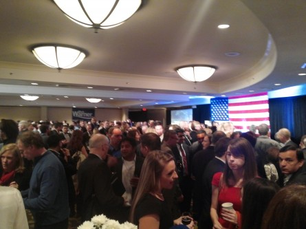 Attendees crammed into the Crystal Ballroom at Sen. Mark Warner's 2014 re-election party. (Warren Rojas/CQ Roll Call)