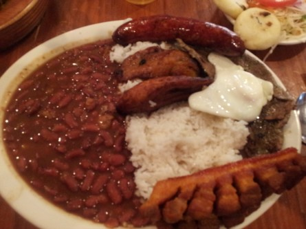 Bandeja paisa at La Pequena Columbia