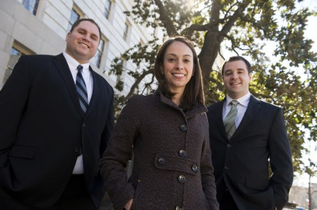 From left, Jason Isakovic, Izzy Santa, and Shane Skelton from the office of Rep. Bob Latta, R-Ohio, are photographed outside of Longworth Building. (Tom Williams/CQ Roll Call File Photo)