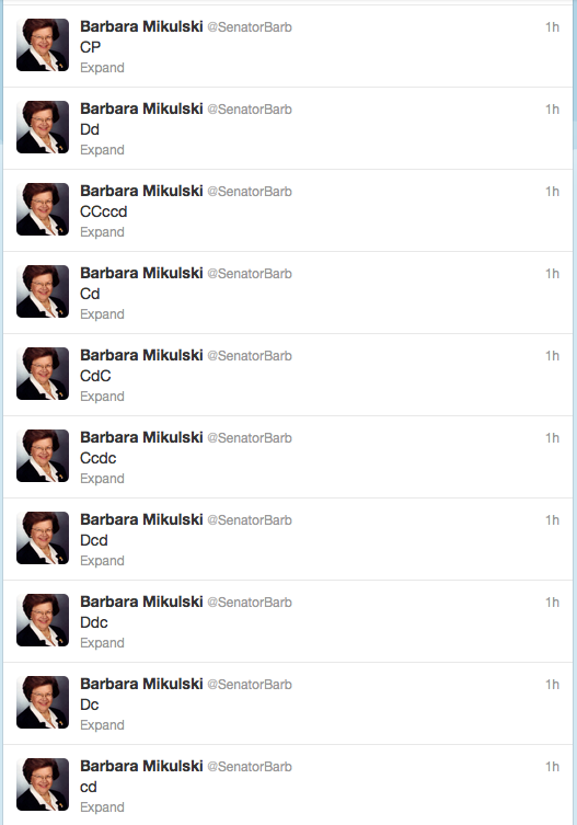 Screenshot of Sen. Mikulski's Twitter feed