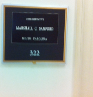 "The nameplate for the newest member of the House forgoes the use of ""Mark"" with ""Sanford."" (Photo courtesy of HOH tipster.)"