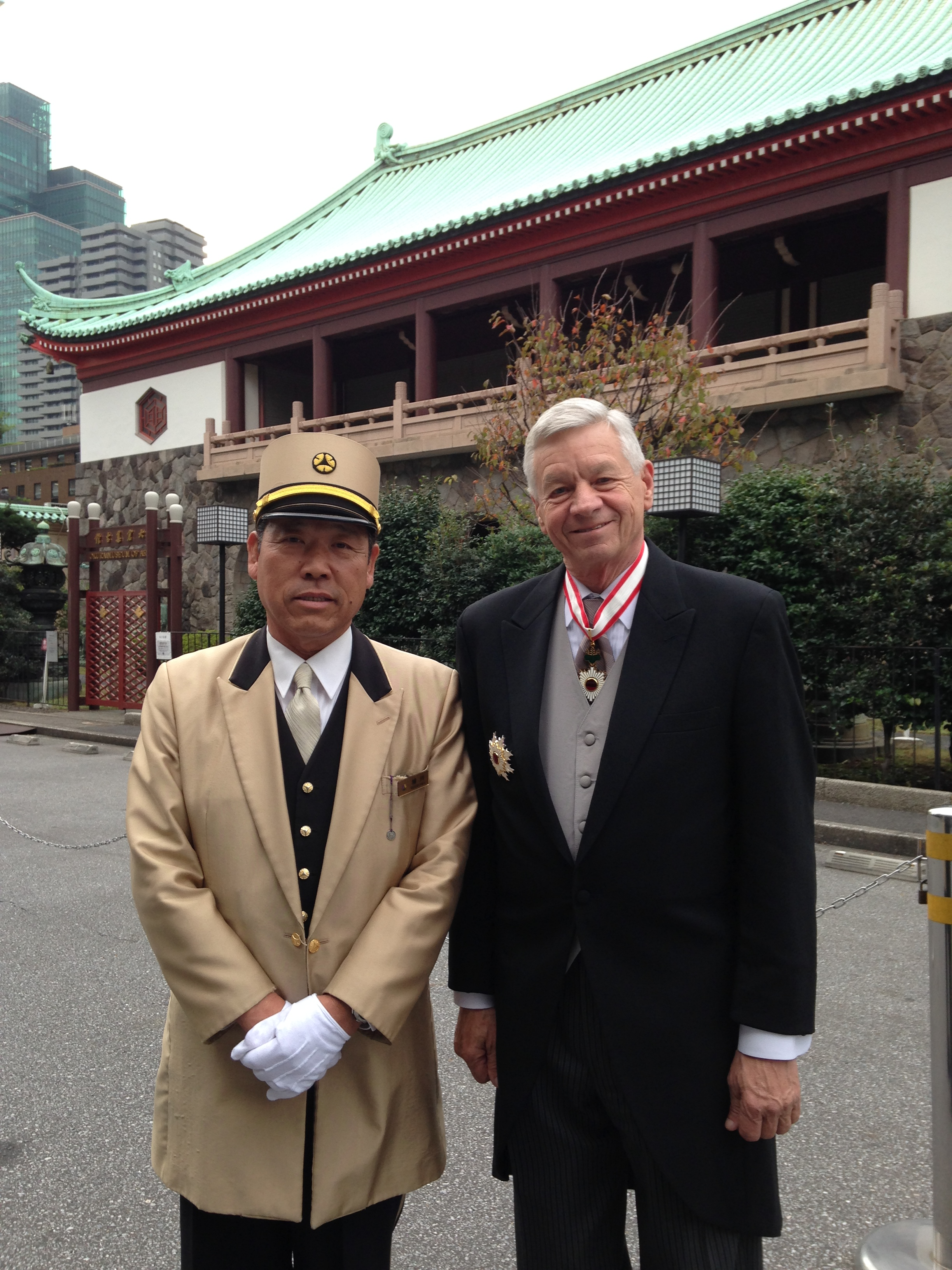 Rep. Tom Petri wearing his Order of the Rising Sun, Gold and Silver Star awards in Japan. (Courtesy Tom Petri)
