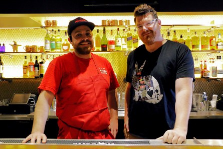 DCity Smokehouse pit master Rob Sonderman and Wicked Bloom bar manager Ben Matz. (Courtesy Whitney Stringer PR)