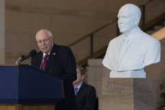 UNITED STATES - DECEMBER 3 - Former Vice President Dick Cheney speaks as his marble bust is unveiled in the Emancipation Hall on Capitol Hill in Washington, Thursday, Dec. 3, 2015. Congressional leaders and former President George W. Bush paid tribute to Cheney, who also served as congressman from Wyoming. (Photo By Al Drago/CQ Roll Call)