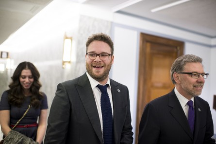 Seth Rogen, center, came to the Hill to advocate for research on Alzheimer's Disease. (Bill Clark/CQ Roll Call)