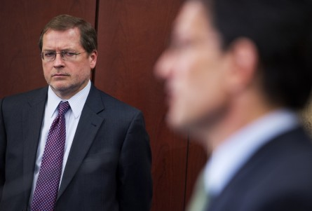 Norquist, perhaps thinking about the GNGSI, at a Thursday tax event on Capitol Hill with Majority Leader Eric Cantor, right. (Tom Williams/CQ Roll Call.)